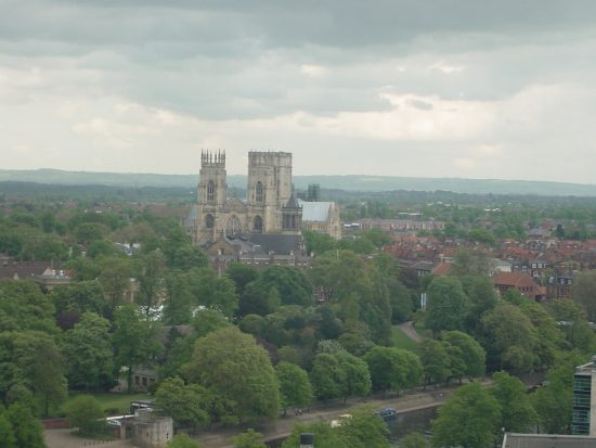 York minster rises above a surprisingly green looking york city centre